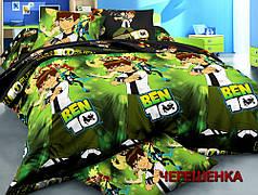 Ткань для постельного белья Ранфорс R-8833 (60м) зеленая с принтом Бен-10
