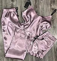 Пудровий жіночий комплект, майка+ штани+ шорти.