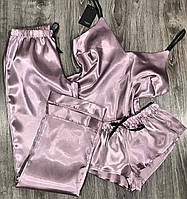 Пудровый  женский комплект, майка+ штаны+ шорты.