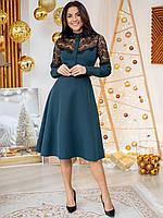 Великолепное изумрудное платье миди с вставками гипюра S, фото 1