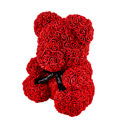 Мишка из 3D роз 40 см красный