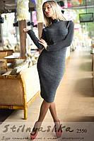 Миди платье-гольф из ангоры графит, фото 1