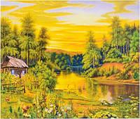 Картина раскраска живопись рисование по номерам на холсте Домик у реки 50*40 см