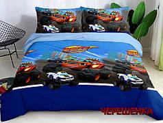 Ткань для постельного белья Ранфорс R-13845 (60м) синяя с принтом Blaze