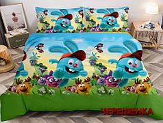 Ткань для постельного белья Ранфорс R-13857 (60м) голубая с принтом Смешарики