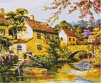 Картина раскраска живопись рисование по номерам на холсте Городок на воде 30*40 см