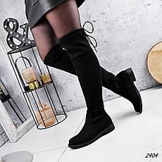 Ботфорти жіночі чорного кольору з еко замші демісезонні. Високі Ботфорти демісезонні, фото 2