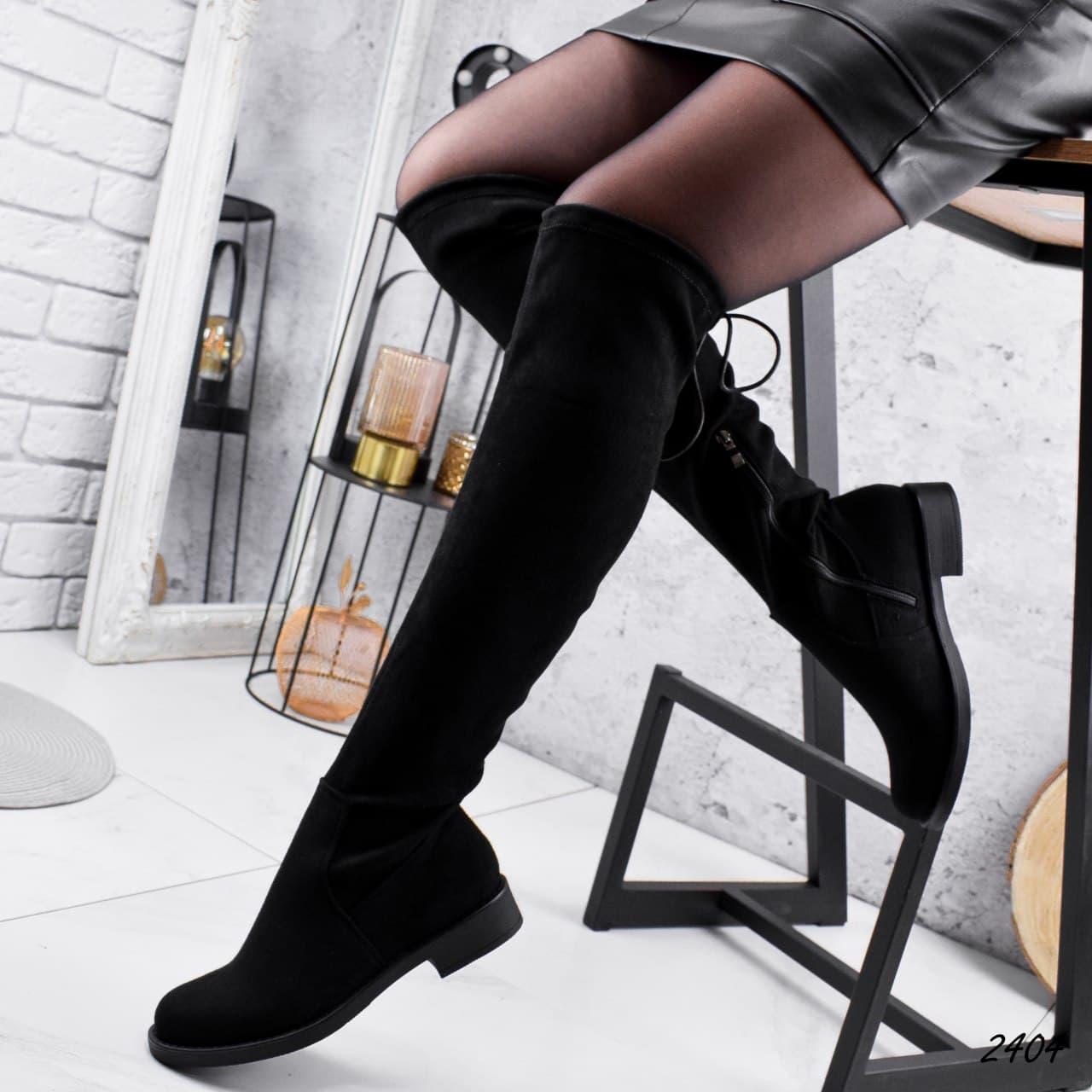 Ботфорти жіночі чорного кольору з еко замші демісезонні. Високі Ботфорти демісезонні