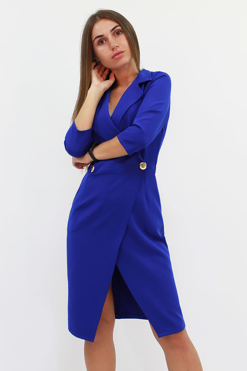 Вишукане жіноче плаття на запах Kristall, синій