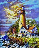 Картина раскраска живопись рисование по номерам на холсте Маяк 30*40 см