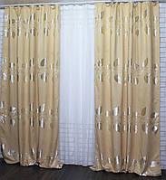 """Комплект готовых штор из ткани лён (2шт. 1,3х2,7м.) с узором """"листья"""", цвет золотистый"""