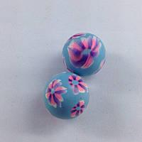 Бусина из полимерной глины 20мм синяя с цветами (товар при заказе от 200 грн)