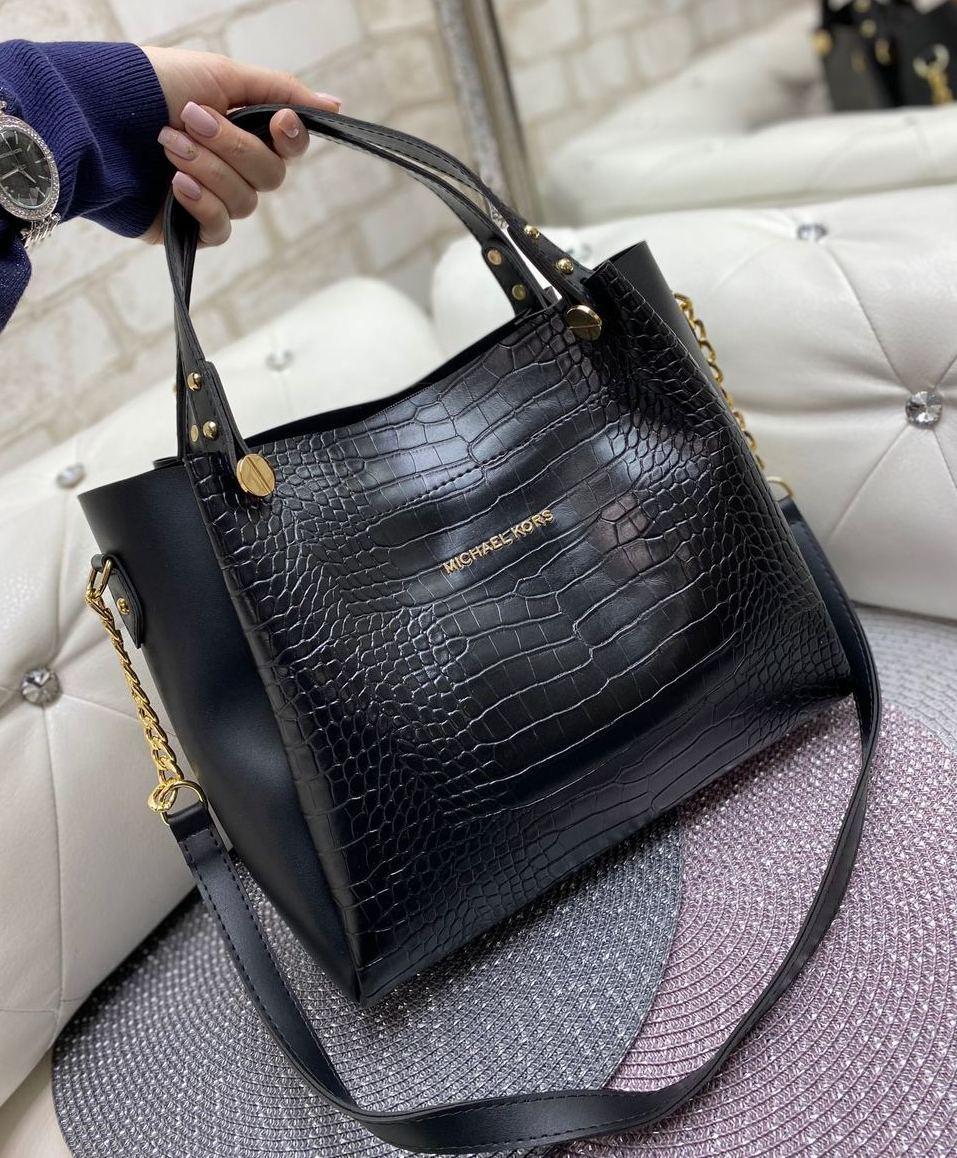 Сумка женская вместительная под рептилию черная шоппер модная городская молодежная экокожа