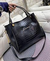Сумка женская вместительная под рептилию черная шоппер модная городская молодежная экокожа, фото 1