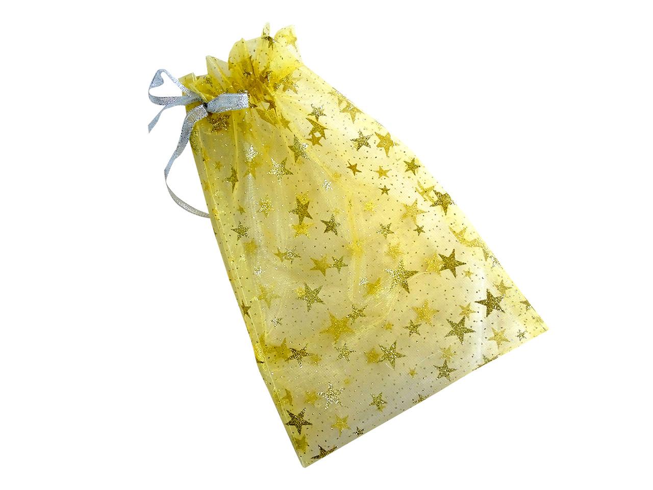Мешочек из органзы с цветной печатью, новогодний рисунок, желтый