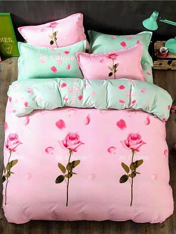 Постельное белье бязь голд люкс 220x180 см двухспальный комплект розово-бирюзовый с розами 17-24, фото 2