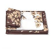 """Двуспальный комплект (Бязь)   Постельное белье от производителя """"Королева Ночи""""   Цветы на коричневом и белом, фото 2"""