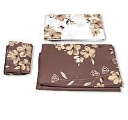 """Двуспальный комплект (Бязь)   Постельное белье от производителя """"Королева Ночи""""   Цветы на коричневом и белом, фото 3"""