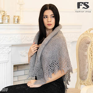 Оренбургский серый пуховый платок Аврора 110 см ДЕФЕКТ!