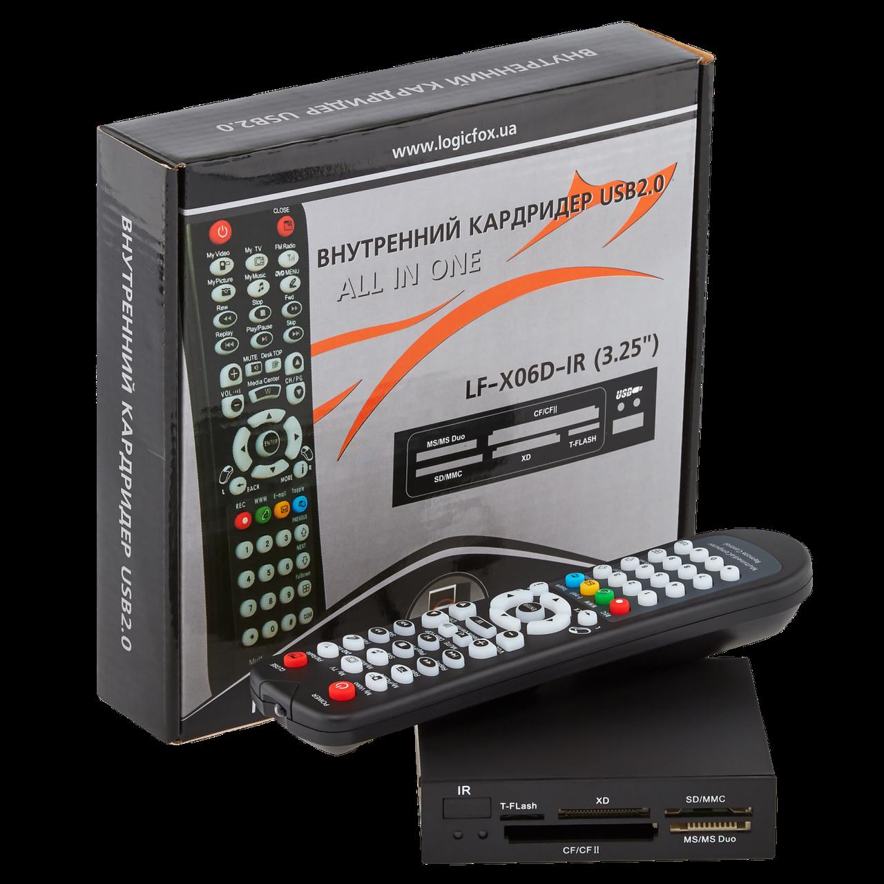 """Кардридер внутренний LogicFox  (LF - X06D-IR) 3.5"""" + пульт для управления ПК"""
