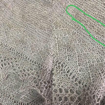 Оренбургский серый пуховый платок Аврора 110 см ДЕФЕКТ!, фото 2