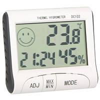 Гигрометр термометр со встроенными часами DC102