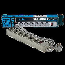 Фільтр-подовжувач мережевий LogicPower LP-X6, 6 розеток, колір-сірий, 3,0 m