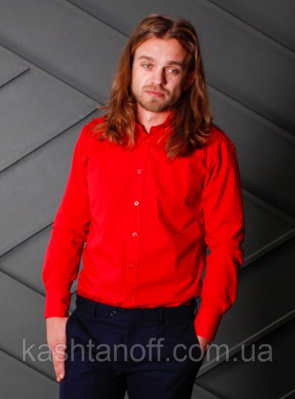 Красная полуприталенная рубашка для мужчины