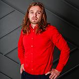 Красная полуприталенная рубашка для мужчины, фото 3