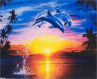 Картина раскраска живопись рисование по номерам на холсте Дельфины 30*40 см