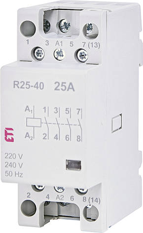 Модульний контактор ETI R 25-40 25А 4NO AC 230V 2462310, фото 2