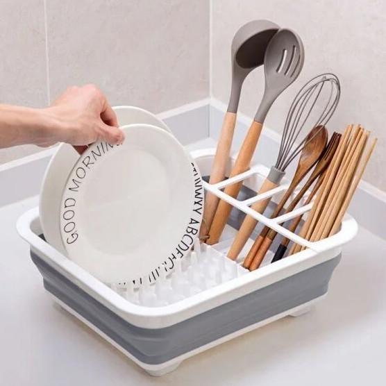Сушилка-поддон для посуды складная силиконовая Кухонная сушка органайзер