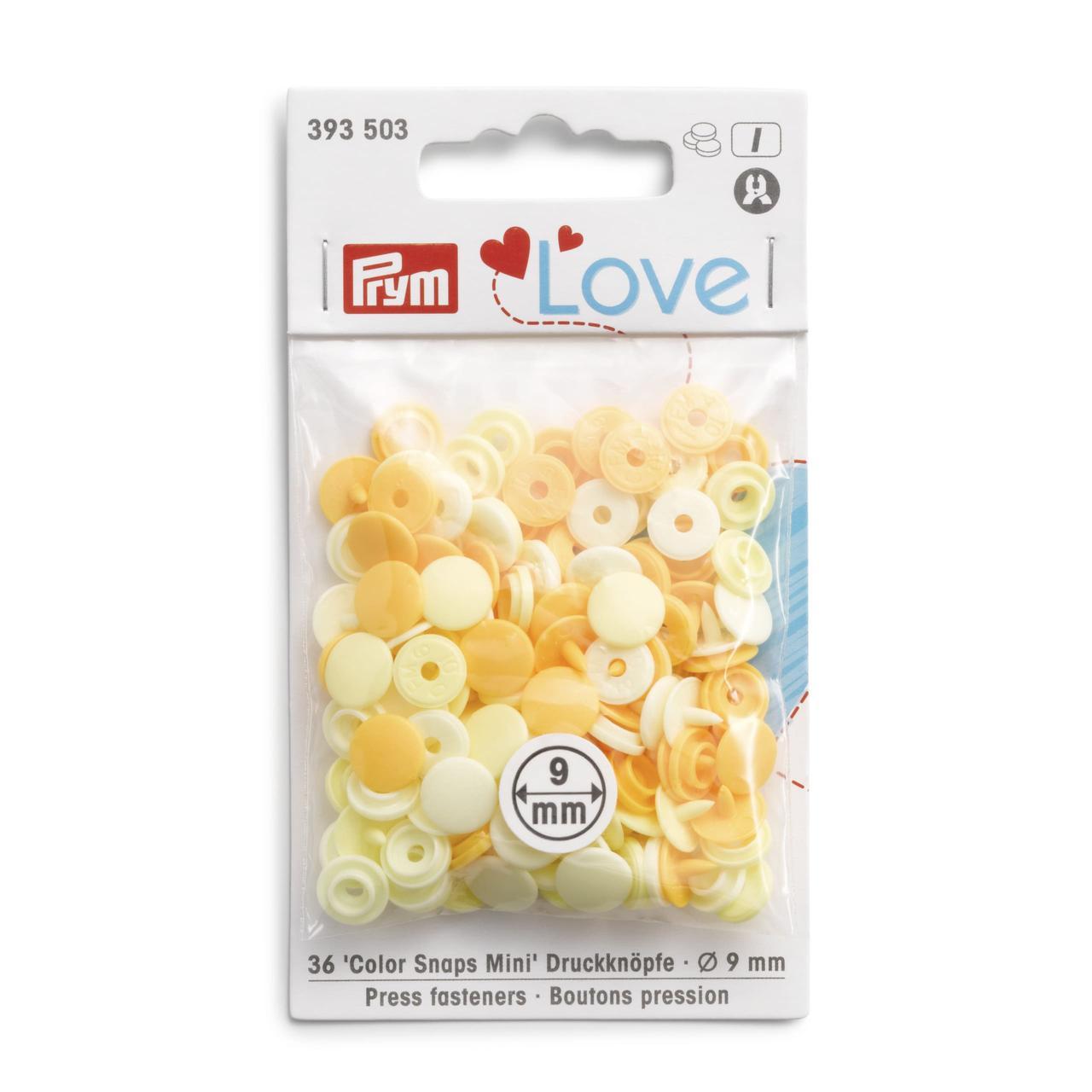 Непришивные кнопки «Color Snaps Mini», 9 мм, цвета желтые Prym Love 393503