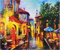 Картина раскраска живопись рисование по номерам на холсте Улица вечерняя 50*40 см