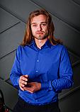 Яркая мужская рубашка цвета электрик с длинным рукавом, фото 3
