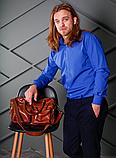Яркая мужская рубашка цвета электрик с длинным рукавом, фото 2