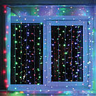 Гирлянда штора светодиодная, 240 LED, Мультицветная, прозрачный провод, 3х1,5м., фото 5