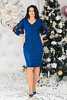 Красиве жіноче плаття на вихід батал з 48 по 58 рр трикотаж з люрексовою ниткою