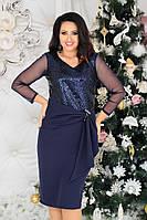 Нарядное женское платье батал с 48 по 58 рр костюмка + пайетки