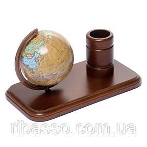 Подставка для ручек деревянная с глобусом 110 мм (рус.) BST 540072