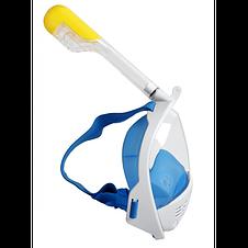 Полнолицевая панорамная маска для плавания FREE BREATH (L/XL) M2068G с креплением для камеры Синий, фото 3