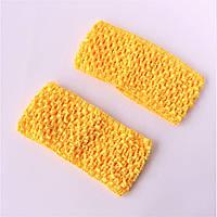 Повязка для волос трикотажная ажурная, ширина 7 см, желтая, фото 1
