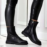 Классические черные женские зимние ботинки натуральная кожа на низком ходу, фото 4