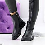 Классические черные женские зимние ботинки натуральная кожа на низком ходу, фото 5