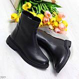 Классические черные женские зимние ботинки натуральная кожа на низком ходу, фото 6