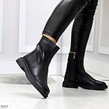Классические черные женские зимние ботинки натуральная кожа на низком ходу, фото 7