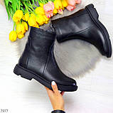 Классические черные женские зимние ботинки натуральная кожа на низком ходу, фото 8