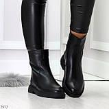 Классические черные женские зимние ботинки натуральная кожа на низком ходу, фото 9