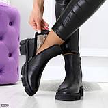 Дизайнерские черные женские зимние ботинки натуральная кожа флотар, фото 2