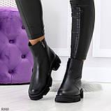 Дизайнерские черные женские зимние ботинки натуральная кожа флотар, фото 3